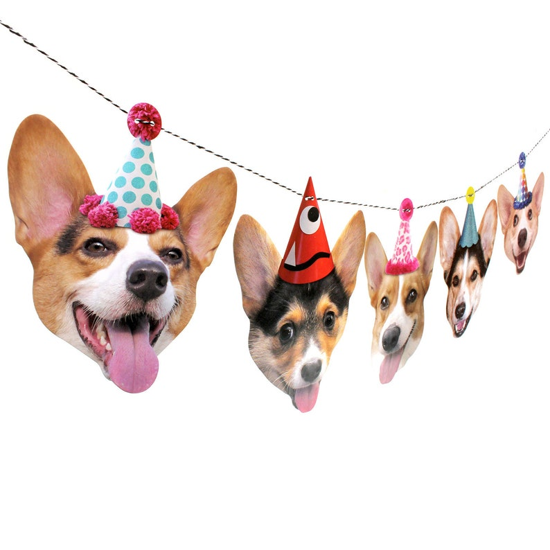 Corgi Dogs Birthday Garland  photo reproductions on heavy image 0