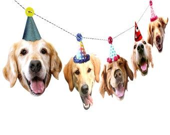 Golden Retriever Dogs Birthday Garland - photo reproductions on heavy card stock - funny golden retriever portraits birthday banner