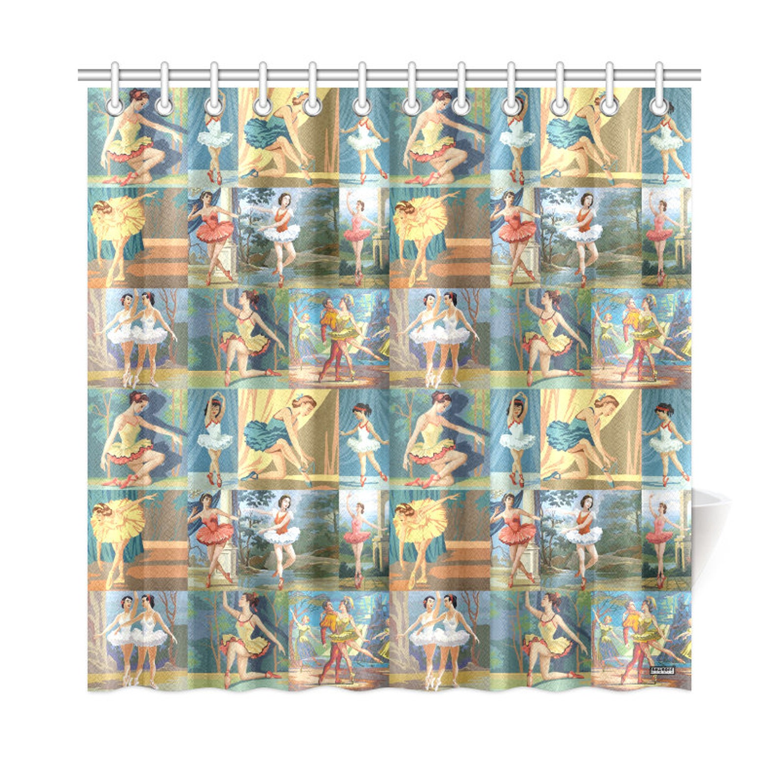 vintage paint by number ballerinas shower curtain - pbn ballet dancers - girls bathroom