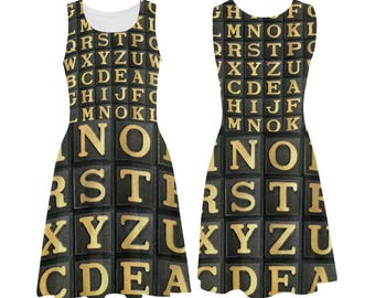 Vintage Anagrams Skater Dress - printed photographic alphabet tiles tank dress - USA XS-3XL