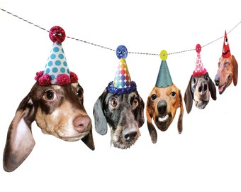 Dachshund Dogs Birthday Garland, photo reproductions on heavy card stock - funny wiener dog portraits birthday banner