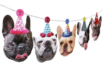 French Bulldogs Birthday Garland - photo reproductions on heavy card stock - funny Frenchie portraits birthday banner