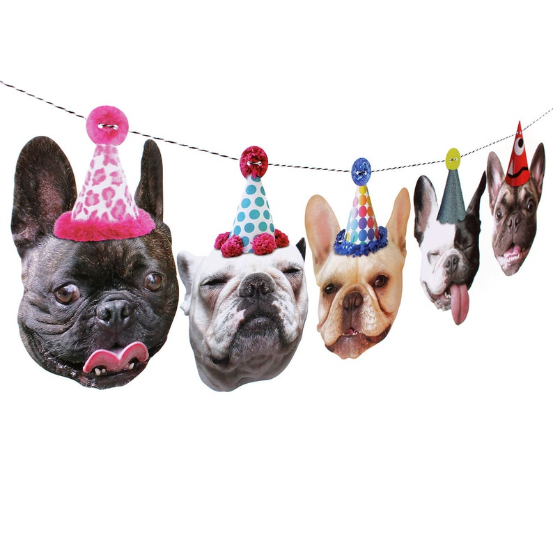 French Bulldogs Birthday Garland  photo reproductions on image 0