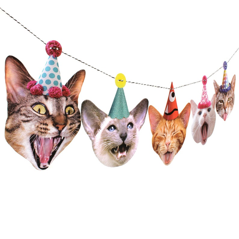 Cats Birthday Garland  photo reproductions on heavy card image 0
