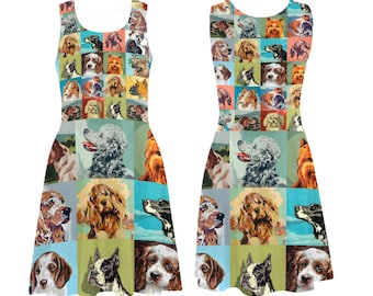 Vintage Paint by Number Dogs Skater Dress - printed flared tank dress - women's dog dress - USA XS-3XL