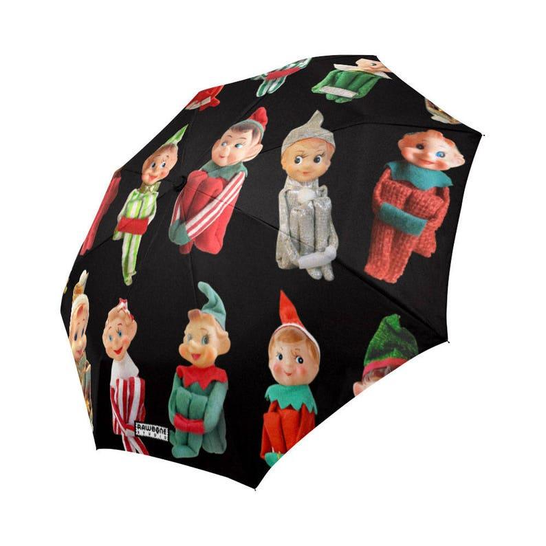 Vintage Christmas Elves Rain Umbrella  knee hugger elf image 0
