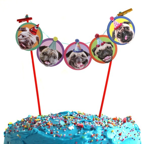 Fantastic Pugs Dogs Birthday Cake Garland Party Decoration For Pug Dog Etsy Birthday Cards Printable Trancafe Filternl