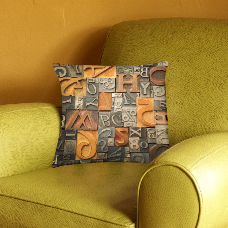 Vintage Metal and Wood Type Alphabet Pillow Cover  vintage image 0
