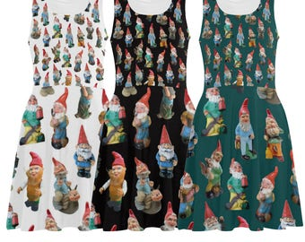 Vintage Garden Gnomes Skater Dress - printed flared tank dress - women's gnome dress - photographic reproductions - USA XS-3XL