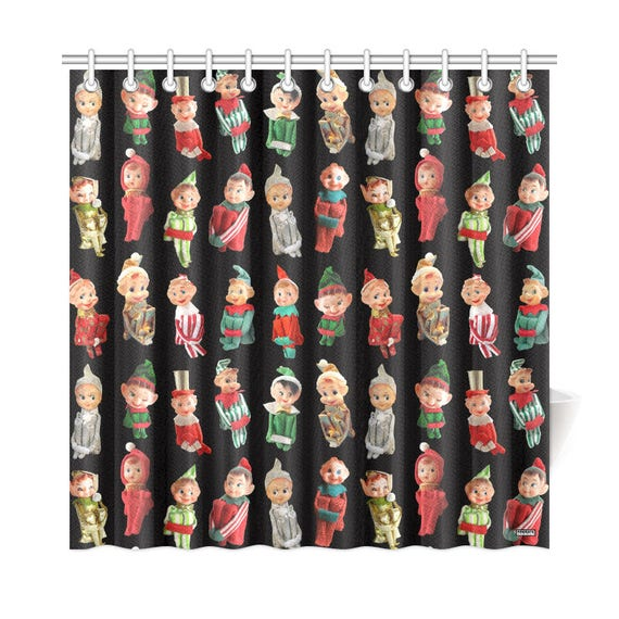 Vintage Christmas Elves Shower Curtain High Res Photos On