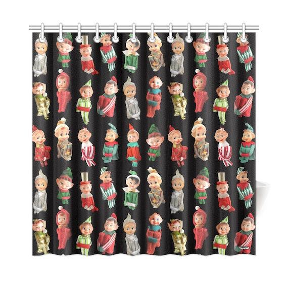 Vintage Christmas Elves Shower Curtain High Res Photos On