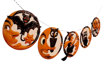 Vintage Halloween Banner - man-in-the-moon photo reproductions - German die-cuts - 2D vintage Halloween garland decor