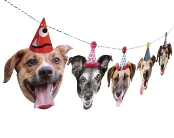Mutts Dog Birthday Garland - printed both sides on heavy card stock - party decoration for mixed-dog and rescue-dog lovers