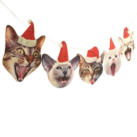 Funny Cats Christmas Garland