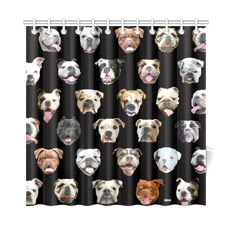 English Bulldog Heads Shower Curtain Bullys Dog Portraits
