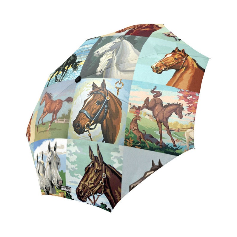 Paint By Number Horses Umbrella  PBN Horses foldable umbrella image 0