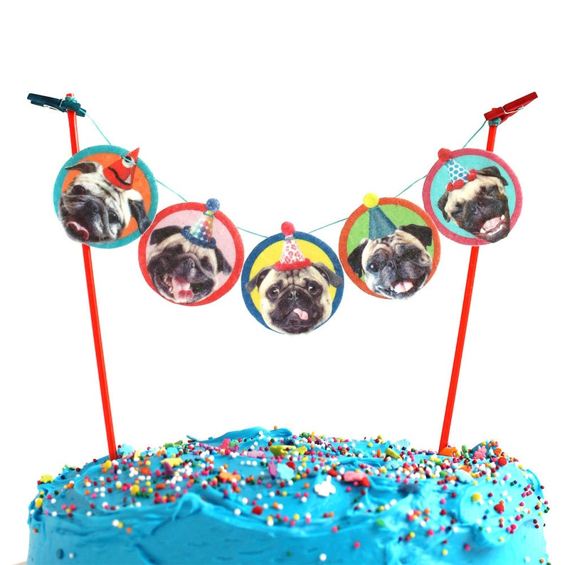 Pugs Dogs Birthday Cake Garland Party Decoration For Pug Dog