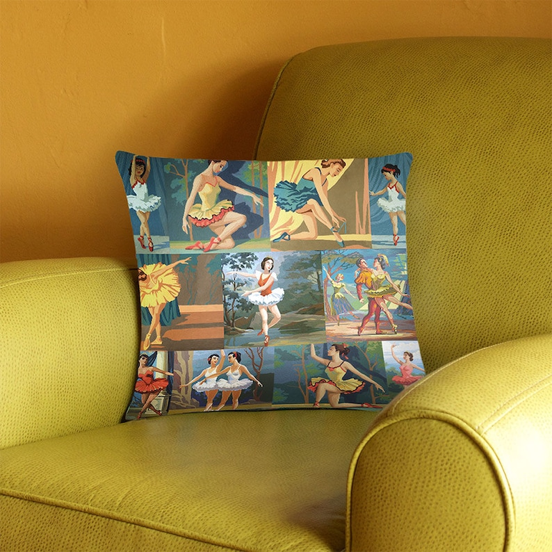 Paint by Number Ballerinas Throw Pillow Cover  vintage paint image 0