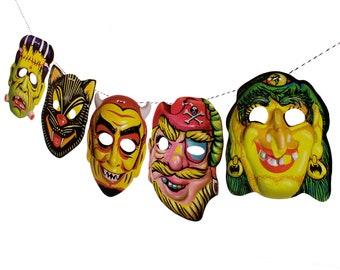 Vintage Halloween Masks Garland - printed photo reproduction - retro banner decoration - novelty mask