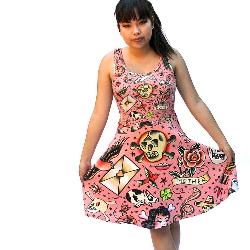 Old School Tattoos Skater Dress  printed flared tank dress  image 0