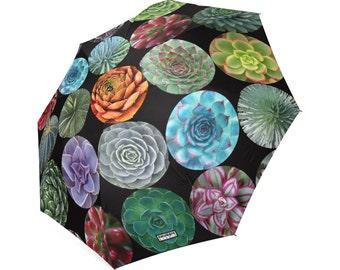 Succulents Rain Umbrella - photo-realistic succulents - foldable umbrella - cactus umbrella