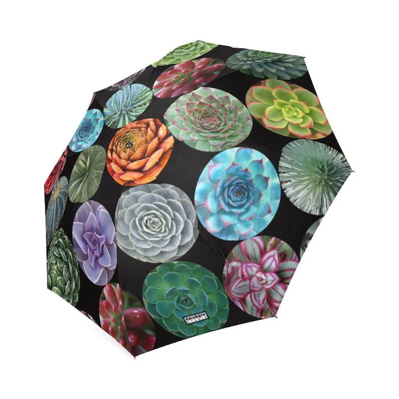 Succulents Rain Umbrella  photo-realistic succulents  image 0