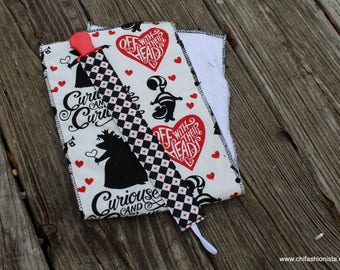 Baby Shower Gift/ Pacifier Clip/ Burp Cloth/ Alice/ Queen of Hearts/ Hearts/ Black and Red/ Off with her head/ Baby Gifts/ Alice Gift Set