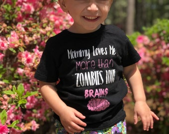 Toddler Zombie/ Zombie Joggers/ Mommy Loves Me/ Zombies Love Brains/ Toddler Style/ Toddler Clothing/ Clothing Sets/ Baby Gift/ Funny Kid