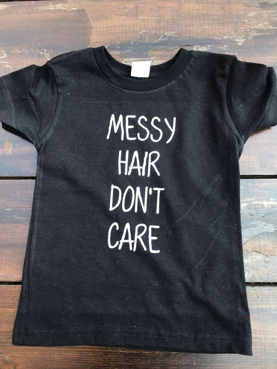 Messy Hair Don/'t Care Kids Tee Cheetah