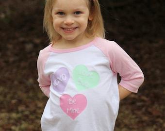 Toddler Valentine's Day Shirt/ Conversation Hearts/ Valentine's Day Gift/ Pink Raglan Shirt/ Toddler Shirt/ Girlie Valentine's Day/ Toddler
