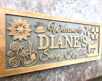 Personalized Wood Carved Craft Room Man//Mom Cave Sign Plaque Scrapbooking