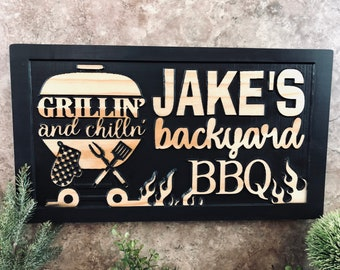 BBQ Sign Smokehouse /& Grill Custom Grilling Sign Man Cave Dad Gift Custom BBQ