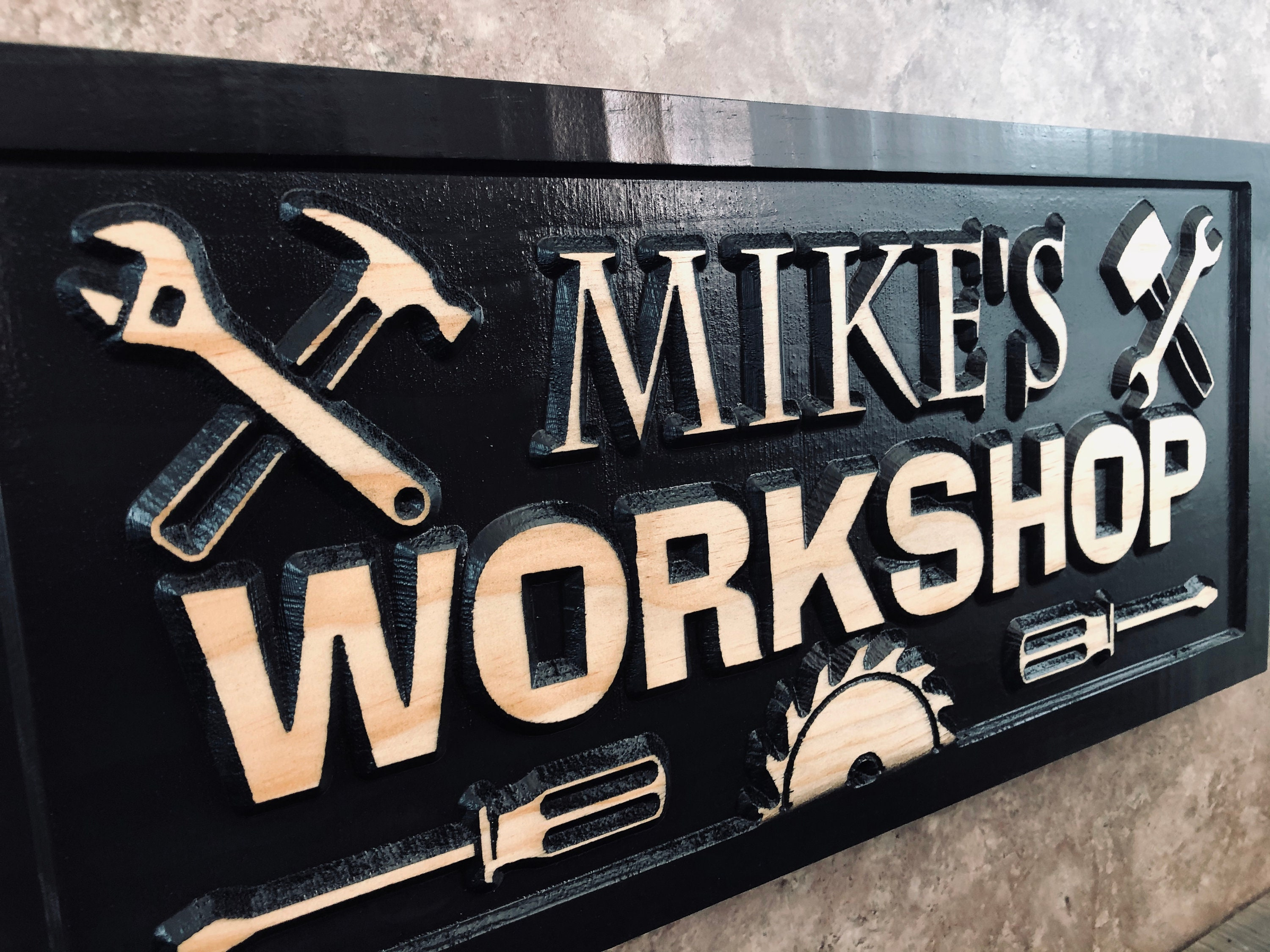 Gifts for Men Workshop Wood Sign Garage Sign Personalized Man Birthday Fathers Day Gift Wood Workshop Sign Husband Custom Mechanic Sign