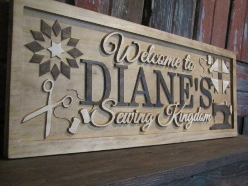 Personalized sewing and quilting room signs wood Name sign image 0