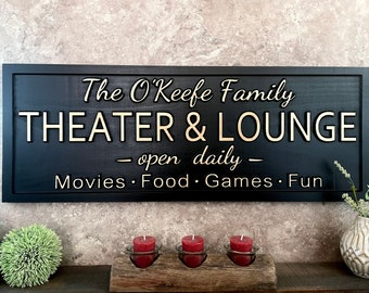 Theater Lounge Sign Custom Movie Theater Sign Personalized Home Theater Room Decor Custom Name signs for Movie Room Birthday Gifts for Him