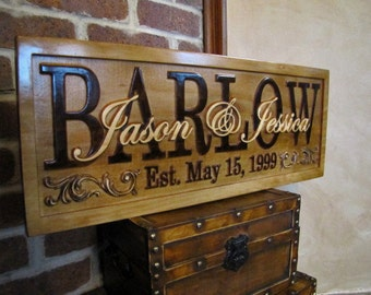 Personalized Family Name Signs custom wedding gift CARVED Wooden Sign Last name Wedding Established Anniversary custom personalized sign