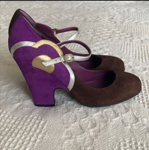 MARC JACOBS Purple Art Deco Mary Janes