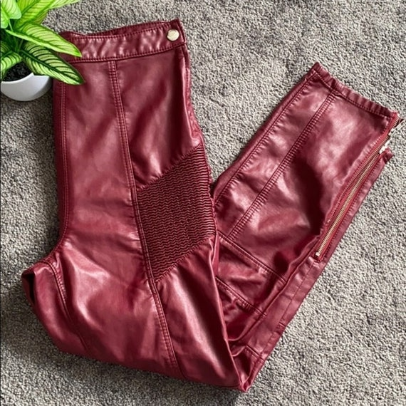 "FREE PEOPLE ""Kaelin"" Red Faux Leather Pants"