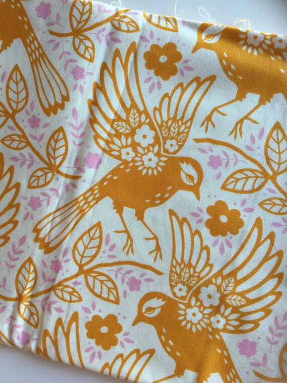 Heather Bailey Meadow Lark Tangerine Orange Birds Up Parasol