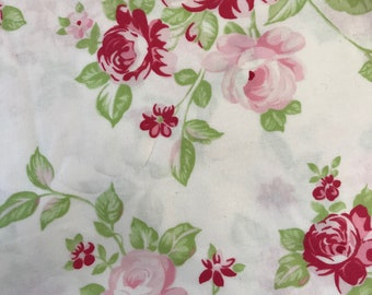 Remnant Grand Revival by Tanya Whelan Darla Pink Roses on White 14x28'', Quilting Sewing Fabric Retro Fabric