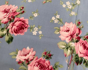 Grand Revival by Tanya Whelan Barefoot Roses Blue Roses Fat Quarter, Quilting Sewing Fabric Retro Fabric