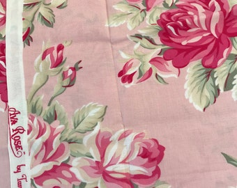 Remnant Ava Roses Grand Revival by Tanya Whelan Roses on Light Pink 14x42'', Quilting Sewing Fabric Retro Fabric
