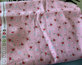 Little Red Riding Hood Flowers on Pink by Tasha Noel Riley Blake Designs Fat Quarter Out Of Print