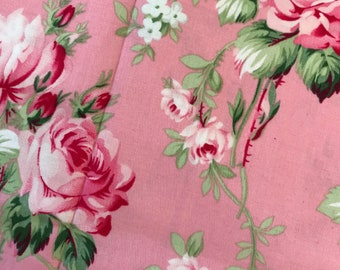 Remnant Grand Revival by Tanya Whelan Barefoot Roses Pink Roses 11x42'', Quilting Sewing Fabric Retro Fabric