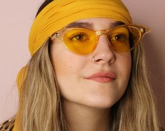 767ab97c39bb 50's 90's retro sunshine yellow tinted winged cat eye sunglasses