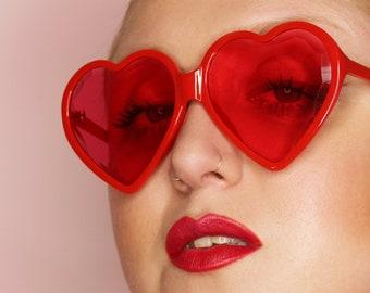 37ebf46318f4 70's 90's Retro oversized Lolita red heart shaped faceted sunglasses