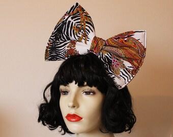 Oversized animal print paisley hippy hair bow 60's 70's style pattern - headband or comb