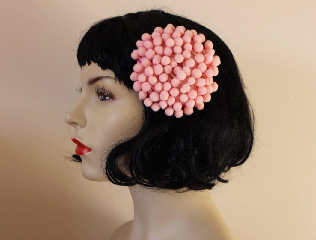 SALE - pretty handmade round pom pom fascinator hair clip in baby pink    bubblegum 1ab74d8915c
