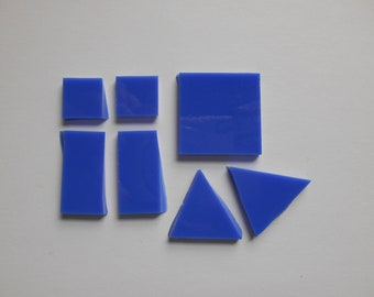 Rectangle Triangles Craft Pieces Mosaic Supplies Green Tile Blue Tile Turquoise Tile Teal Mix Opaque Mosaic Glass Tiles Squares