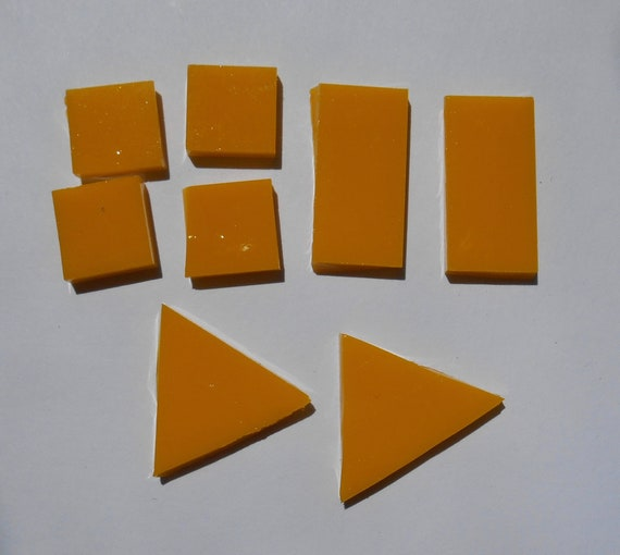 Mosaic Tiles Supplies Art Craft Mixed Yellow /& Orange Glass Triangles